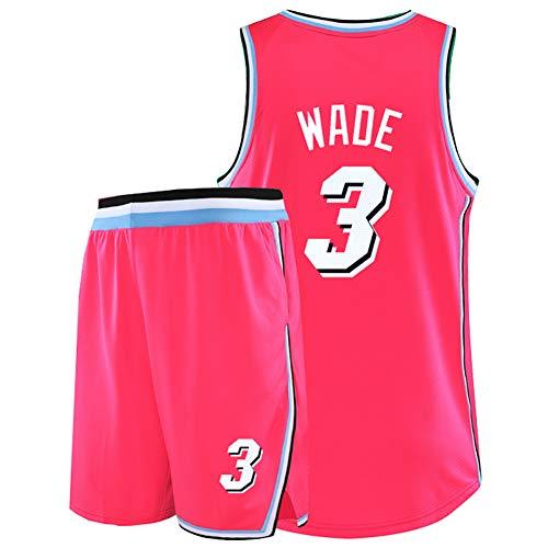 Wade 3. Jersey Flash, geeignet für Miami Heat Retro-Basketball-Trainingsanzüge, Basketball-Kampfuniformen, Basketball-Shirts für Herren und Damen, Beste Spieler-cityred-4XL