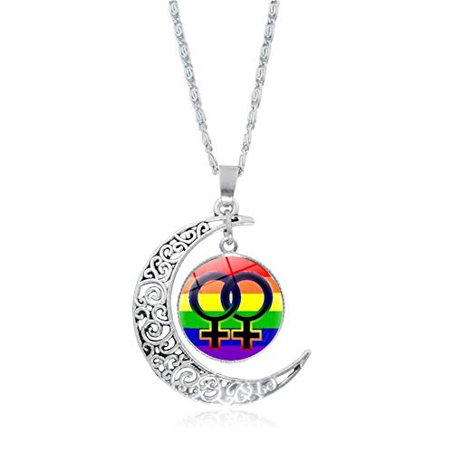 Lesbian Necklace for Women Girls Gay Pride Accessories Lesbian Gifts for Girlfriend Wife Friend for Wedding Birthday Christmas Gifts