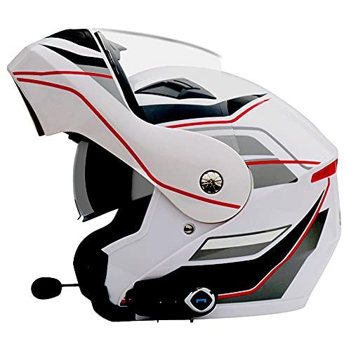 Casco Modular Integrado con Bluetooth Abatible hacia Arriba para Motocicleta Casco Modular con Visores Duales Antivaho Reducción de Ruido Aprobada por Dot/ECE para Unisexo, 59~64cm