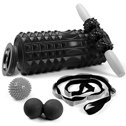 Odoland Faszienrolle Faszien Set 5 IN 1 mit Foam Roller Massageroller Duoball Yogagurte Massagebälle für Faszientraining von Muskeln und Entlastung Muskelkate Schwarz
