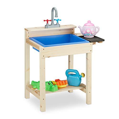 Relaxdays Matschküche, Outdoor, Spülbecken mit Wasserhahn, Kinder Sandspieltisch, Holz