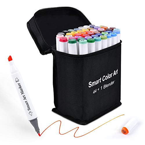 Art Markers, 44 Coloring Markers and 1 Blender, 45 Pack Alcohol Based Dual Tip Permanent Markers Highlighters with Case, Excellent for Adults Kids Marking Drawing Sketching by Smart Color Art