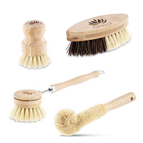 Groval® Waschbürsten 4er Set | für Küche & Haushalt zur Geschirrreinigung | Bambus Waschbürsten | Nachhaltig | Vegan | Biologisch abbaubar