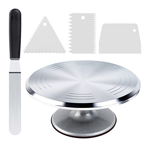 Cake Stand, Ohuhu Aluminium Revolving Cake Turntable 12'' Rotating Cake Decorating Stand with Angled Icing Spatula and Comb Icing Smoother, Baking Cake Decorating Supplies