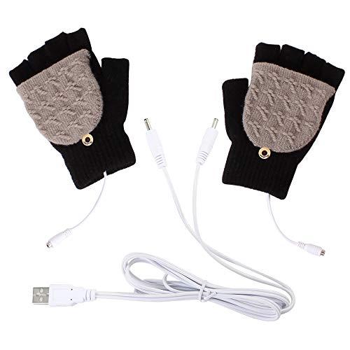 Haokaini 1 par unisex USB-uppvärmda handskar, fulla och halva fingrar USB-värmevantar, varma laptophandskar tvättbara varma vinterhandskar
