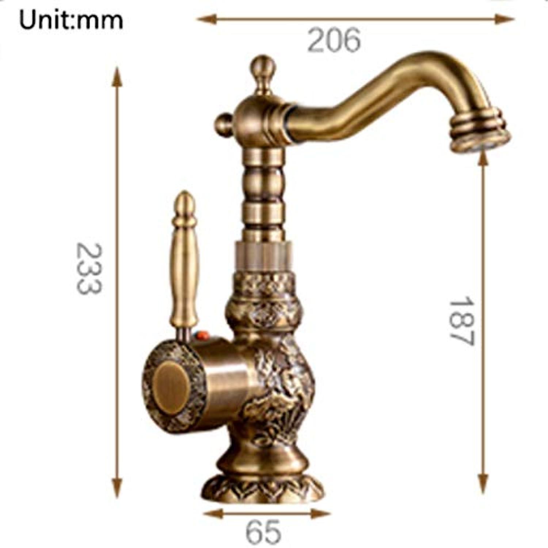 Spültischarmaturen ZQG Retro-Rotary geschnitzten Bad Becken Wasserhahn, Kupfer europischen Stil Hot Cold Art Wasserhahn (Größe   Short)