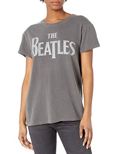 Lucky Brand Camiseta de Manga Corta con Cuello Redondo para Mujer The Beatles, Carbón, S