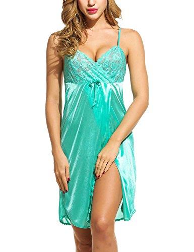 Adome Damen Satin-Nachthemd, Spitze, Satin, Cami Shorts