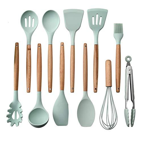 KKmoon 11 peças de utensílios de cozinha Conjunto de utensílios de cozinha Conjunto de utensílios de cozinha de silicone Conjunto de utensílios de cozinha com cabo de madeira Utensílios de cozinha an