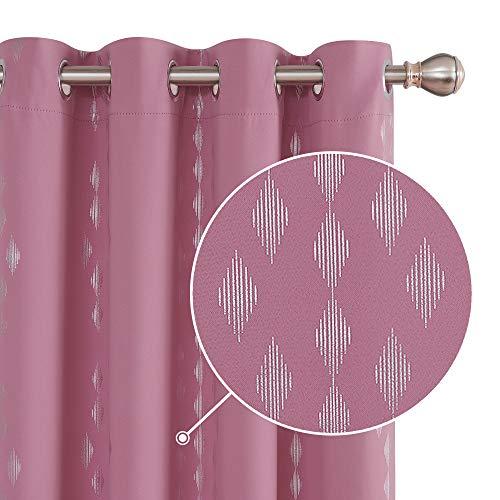 Deconovo Gardinen Blickdichte Vorhänge Abdunklungsvorhang Thermo Schlafzimmer mit Ösen 229x117 cm Pink 2er Set