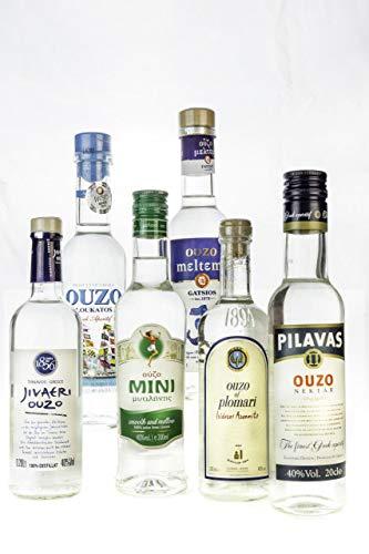 OUZO Probier Set 6x 200ml Ouzo aus Griechenland Tresterbrand ✔ Jivaeri ✔ Pilavas ✔ Plomari ✔ Mini Mytilini ✔ Loukatos ✔ Meltemi griechischer Trester Anis Schnaps Geschenk