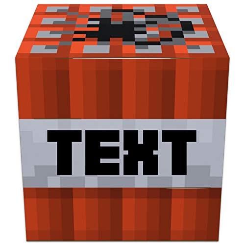 Elbeffekt TNT Lampe aus Holz - personalisierbares Geschenk für Jungen - Bilder Kinderzimmer Jungen - personalisierbar zum Hinstellen/Aufhängen - Gaming Room - persönliches Geschenk
