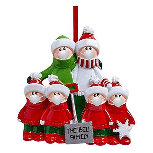 Familia personalizada de 6 piezas con adorno de árbol de Navidad para perro 2020 – Madre Papá Noel PJ sombrero pijama guirnalda amarilla beis Pet relleno, regalo creativo para familia, amigos