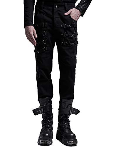 Pantalones vaqueros negros góticos punk destruidos rotos pantalones vaqueros ajustados para el día a día