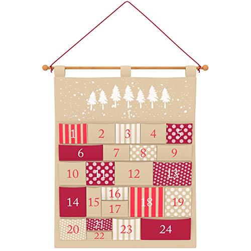 Adventskalender zum Befüllen Kinder und Erwachsene - Der Besondere, Persönliche Weihnachtskalender - Wunderschönes Design - Individuell befüllbarer Adventskalender aus Stoff zum Aufhängen, Pure Living