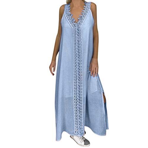 Vestido de otoño para Mujer, Vestido Largo de Retazos de Encaje sin Mangas con Hombros Descubiertos y Hombros Descubiertos para Mujer, Vestidos Elegantes para Mujer (Azul L)