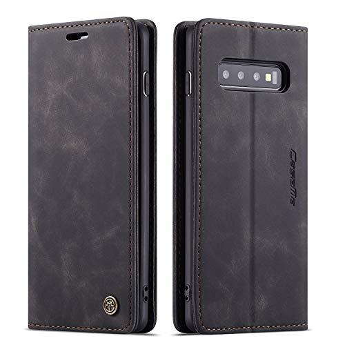 QLTYPRI Hülle für Samsung Galaxy S10 Plus, Vintage Dünne Handyhülle mit Kartenfach Geld Slot Ständer PU Ledertasche TPU Bumper Flip Schutzhülle Kompatibel mit Samsung Galaxy S10 Plus - Schwarz