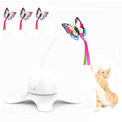 SHUANGJUN Interaktives Katzenspielzeug Elektrischen drehendem Schmetterling Katze Spielzeug mit 3 Stücke Ersatz Blinkende 360° Automatisch rotierende Teaser Spielzeug für Kitten Spielen (Weiß)