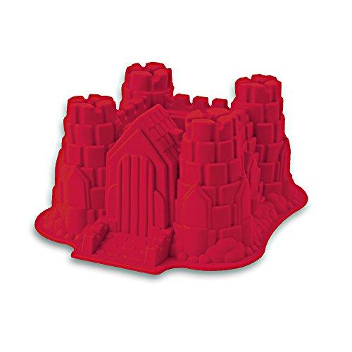 Silikon-Form, Modell: Ritterburg/Schloss, geeignet zum Backen von Kuchen und Torten sowie zur Zubereitung von EIS oder Götterspeise. Eine tolle Überraschung für Partys und Geburtstage (rot)