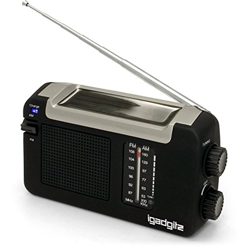 iGadgitz Xtra U4457 Wind Up, Solar & USB Rechargeable Portable AM FM Radio - Black