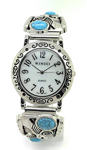 Mens Ladies 35mm Turquoise Western Stretch Elastic Band Fashion Watch with Stones Wincci