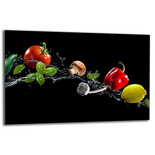 TMK | Placa de 80 x 52 cm 1 pieza para cubrir la vitrocerámica, protección contra salpicaduras, placa de cristal decorativa, tabla de cortar, verduras
