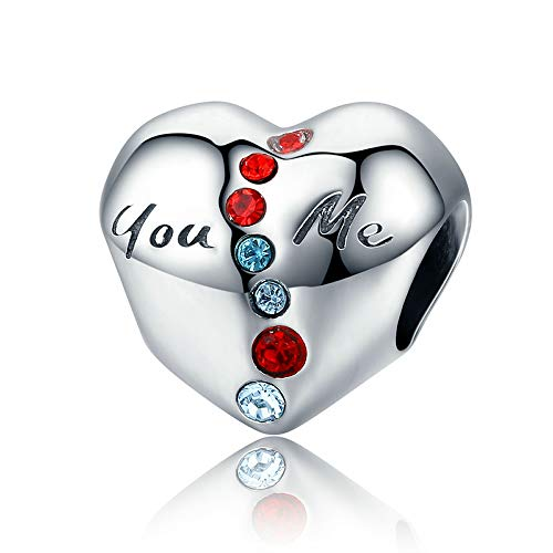 You & Me Echt 100% 925 Sterling Silber You & Me in Heart Clear CZ Pavé-Fassung für Frauen Armbänder & Armreifen DIY Schmuck