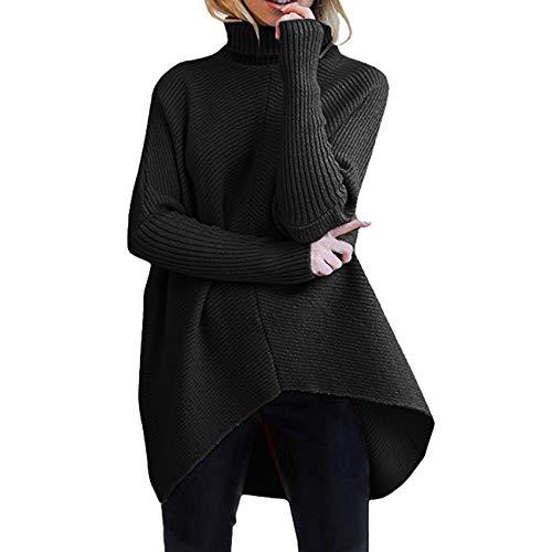 Herbst/Winter Damen Einfarbig High Neck Mittellanger Loose Pullover Sweater Damen