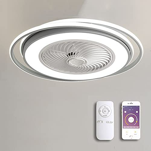 Moderna silencioso Ventilador de techo con luz y mando a distancia LED Lámpara De Techo para infantil Dormitorio Sala App Regulable y 3 Velocidad del Viento Ventilador Invisible Iluminación,Blanco
