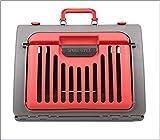 DUHUI Plegable Portador de Gatos Plástico Gato y Perro Jaula Portable Pet Products45.5 * 35.5 * 32.5cm (Color : Red)