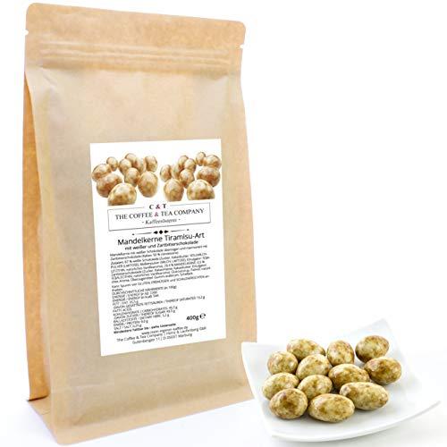 C&T Mandelkerne Tiramisu mit weißer Schokoade 400 g | Mandeln in Marmorierter Schokolade | Knackiger Snack für Zwischendurch ohne Konservierungsstoffe | Nachfüllpack Knusperkalender
