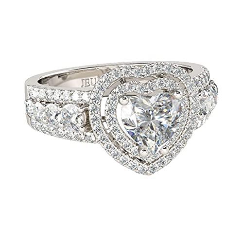 Jeulia Anillo de Compromiso de Plata de Ley 925 con Corte de corazón y Diamante Blanco con Piedras Laterales, Regalo romántico para él (17)