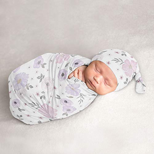 Sweet Jojo Designs Watercolor Floral Baby Girl Cocoon and Beanie Hat 2pc Set Jersey Stretch Knit Sleeping Bag for Infant Newborn Nursery Sleep Wrap Sack - Lavender Purple Pink Grey Shabby Chic Flower