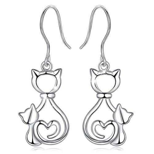 Femmes Boucles d'oreilles de Chat Argent Sterling 925, Animaux Inspiré Bijoux CELESTIA, Cadeaux pour les Amoureux des Chats