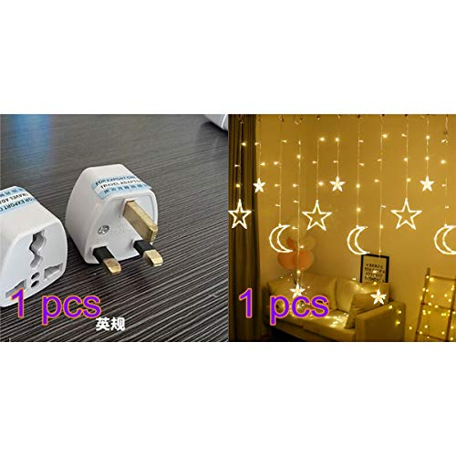 StyleBest Vorhang Lichterketten, LED Lichterketten 3,5 m Star Moon LED Vorhang Lichter Girlande Hochzeit dekorative Lampe Hausgarten Weihnachtsfenster Vorhang Dekoration