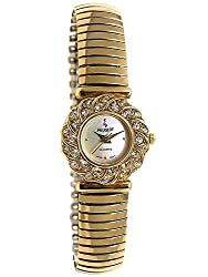 14Kt Gold Plated Crystal Bezel Watch with Soft Expansion Bracelet