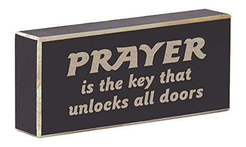 Rustic Wood Magnet Christianity Faith Saying Laser Engraved Prayer is The Key That Unlocks All Doors (Rustic Black)