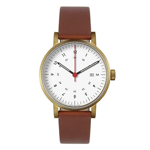 V03D Date–Reloj analógico con fecha de Void Watches Mate de Goldenes Carcasa & Esfera Blanca & CLARO marrón banda