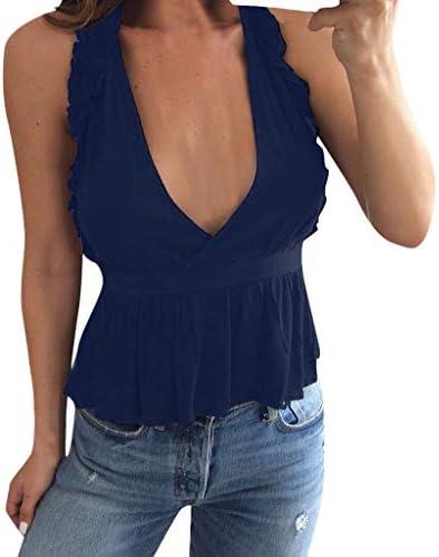 Guobin Camisetas Mujer Escotadas Camisas Mujer Elegante Sin ...