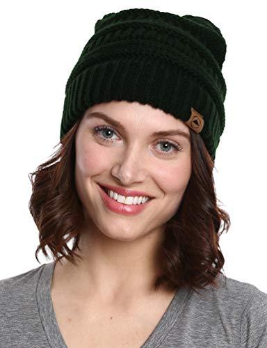 Robuste Kopfbedeckung Zopfstrick-Mütze – dick, weich und warm, grobe Beanie für Damen und Herren – Serious Beanies für Serious Style, Damen, Onyx Black, One Size Fits All