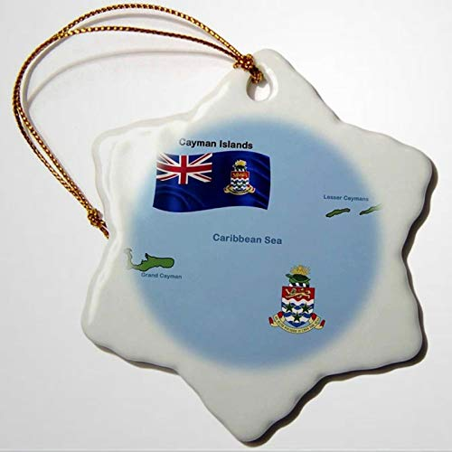 BYRON HOYLE Flag And Map of Cayman Islands Shoeing Both Grand Cayman And Lesser Caymans Snowflake Porcelain Ornament Christmas Ornaments Pandemic Xmas Decor Wedding Ornament Holiday Present