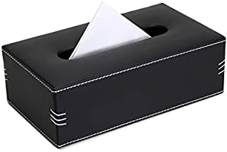 Belmun Black PU/Artificial Leather Tissue Box with Triple Side stsitch Design for Cars, Homes, Dry Areas of bathrooms, Offices