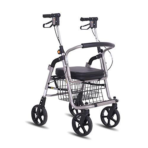 Z-SEAT Andador Compacto y Ligero/Ayuda para Caminar para la obesidad/Andador con Ruedas de Aluminio, con protección antibacteriana, Freno a Dos Manos