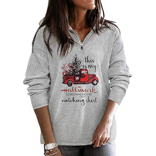 Flovey Women's Hallmark Christmas Movies Watching Shirt Zip Sweatshirt, Fall Shirt for Women (Grey, Large)