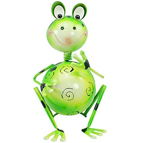 com-four® Dekofigur sitzender Frosch - Gartenfigur aus bunt lackiertem Metall im Frosch-Design - ca. 26,5x18x18cm (1 Stück - sitzender Frosch)