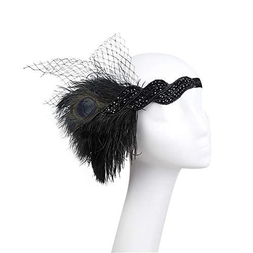 BERYLSHOP Plume Noire de Femmes Bandeau Banquet Mesh Peacock Crâne Diadème Accessoires Cheveux (Color : Black)
