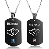 Uloveido His and Hers Black Dog Tag Titanium Necklace Couples Stainless Steel Her One His Only Heart Matching Necklaces Set Valentine's Gifts for Girl Boy SN201