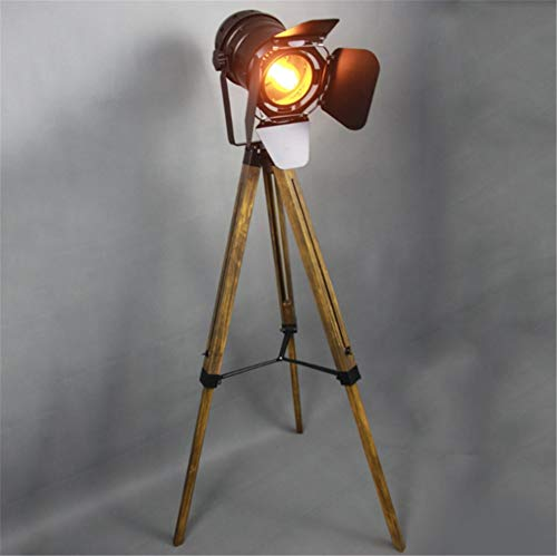 Floor Lamp Industrial Retro Steampunk Searchlight Height Adjustable Rotatable Shade E27 Single Head Black Wrought Iron Do The Old Wooden Tripod Standing Lamp with Foot Switch for Living Room Bedroom