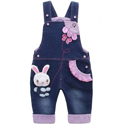 KIDSCOOL SPACE Baby Girl Jean Overalls,Toddler Denim Cute 3D Bunny Outfit,Blue,18-24 Months