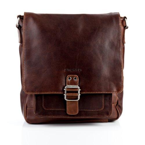 STOKED Umhängetasche NATHAN - Ledertasche mit Schultergurt groß fit für tablet - iPad - Schultertasche echt Leder braun-cognac